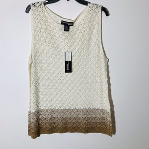Norton Mcnaughton Crochet Tank Beige/Brown 2X NWT